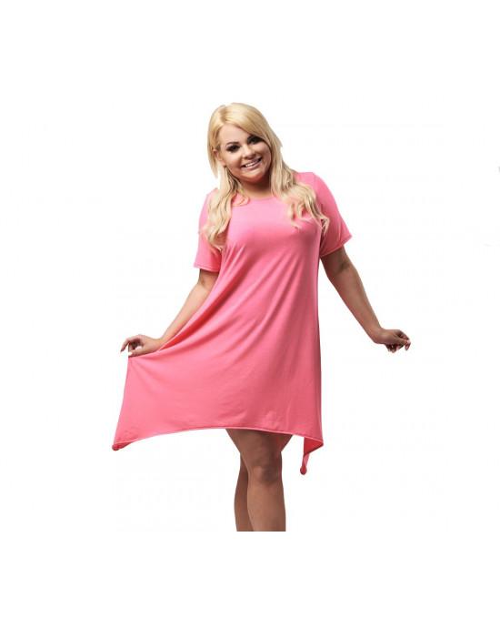 Sukienka trapezowa Neonowy Róż PLUS SIZE S-16