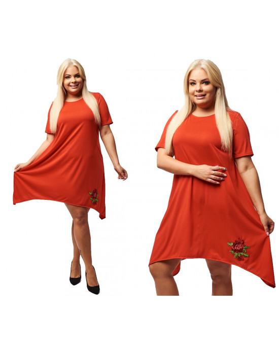 Asymetryczna czerwona sukienka z pazurem PLUS SIZE S-16H