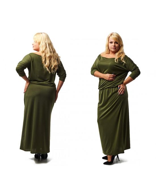 S-18D Sukienka oliwkowa modna MAXI kieszenie PLUS SIZE