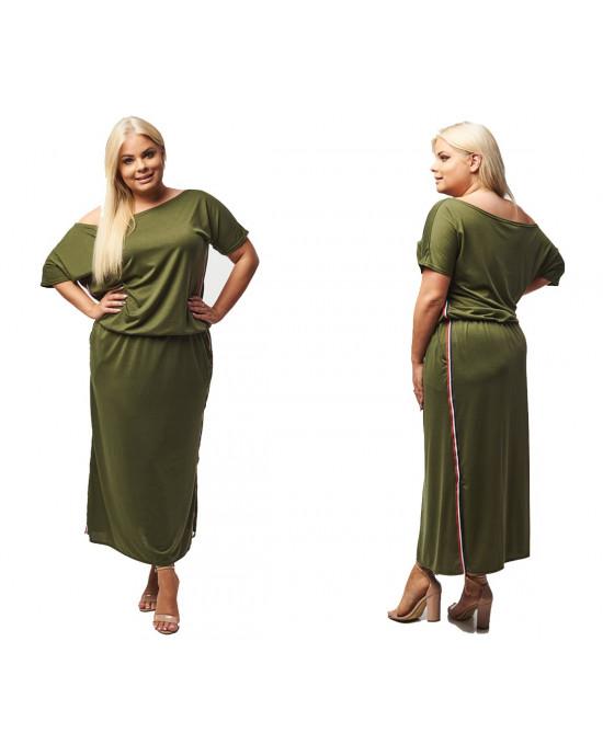 DŁUGA sukienka BY TOMMY ciemna oliwka PLUS SIZE