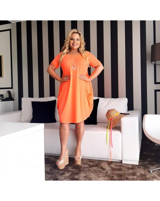 Sukienka tuba pomarańczowa Plus Size S-15