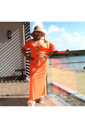 Sukienka maxi neonowy pomarańczowy S-18