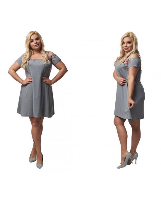 Szara trapezowa sukienka z haftem PLUS SIZE S-22