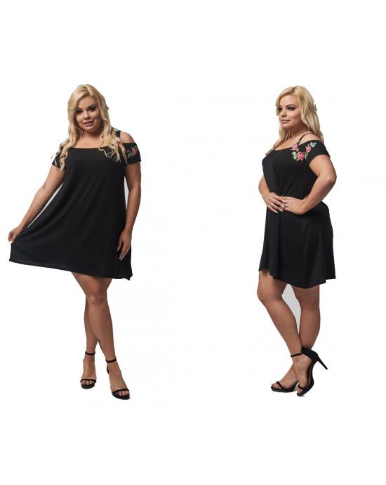 Rozkoszna czarna sukienka trapezowa z haftem róża PLUS SIZE
