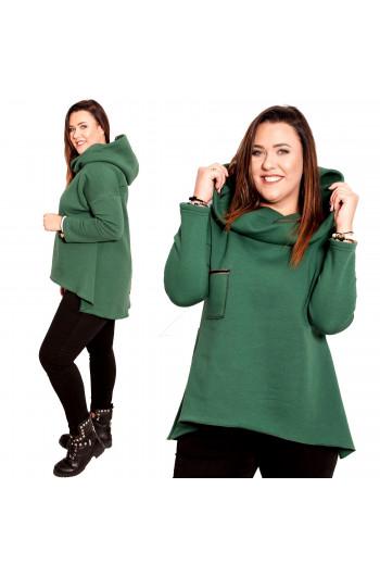 Zielona Bluza Dresowa na zimne dni Plus Size