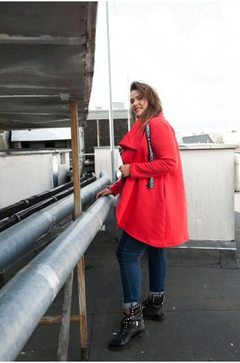 Czerwona Bluza dresowa Plus Size BL-06