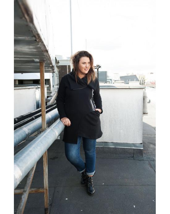 Ciekawa, czarna bluza dresowa - asymetryczna BL-06