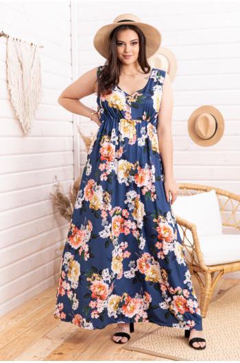 S-78 sukienka maxi dekolt print