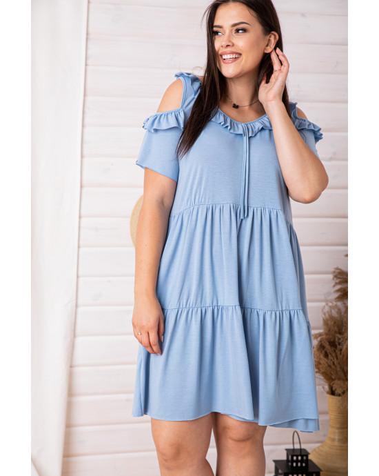 S-84 sukienka marszczona z falbanką w kolorze błękitnym