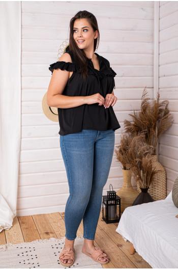 SALE! B-18 bluzka z falbankami ażurowe wstawki batyst czarna