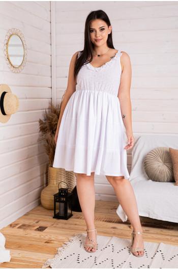 S-85 MIDI sukienka z koronkową falbanką wstawki ażurowe batyst biała