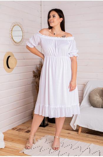 S-34b sukienka boho ażurowe wstawki batyst biała