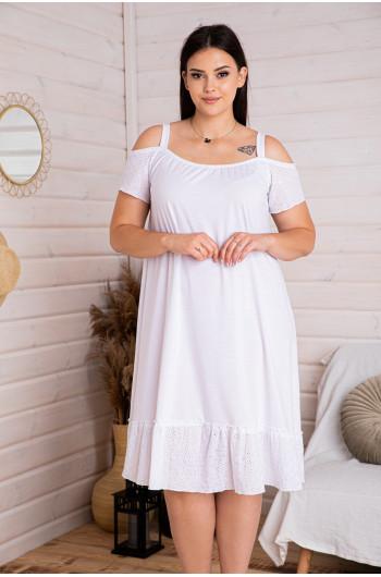 S-22b sukienka trapezowa wstawki ażurowe batyst biała