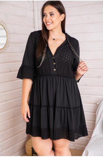 SALE! S-49b sukienka marszczona ażurowe wstawki batyst czarna