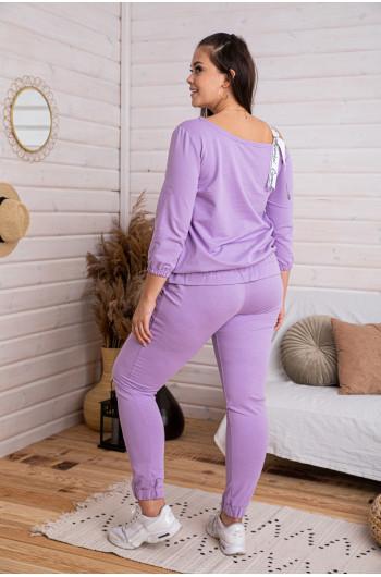 D-07 dres z bluzą z falbanką w kolorze liliowym