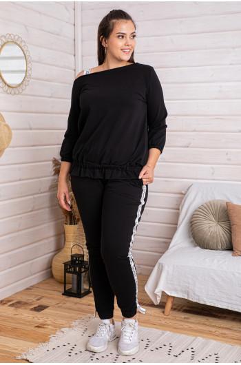 D-07 dres z bluzą z falbanką w kolorze czarnym