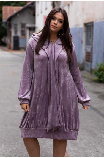 S-13 sukienka welur oversize liliowa