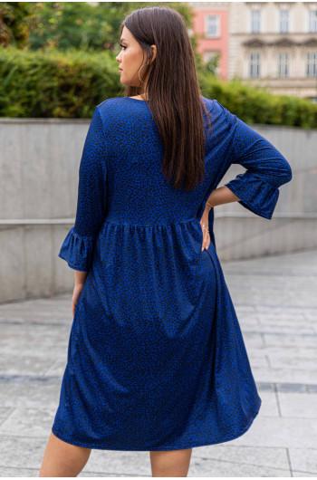 Niebieska sukienka panterka odcinana pod biustem S-05