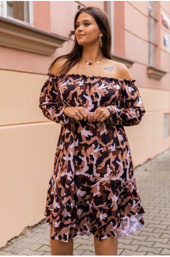 S-09 sukienka midi odkryte ramiona luźna wzór 5