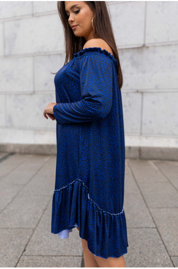 S-09 sukienka midi odkryte ramiona luźna wzór 7