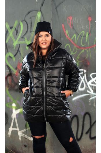 k-17 kurtka pikowana puchowa zimowa stójka czarna