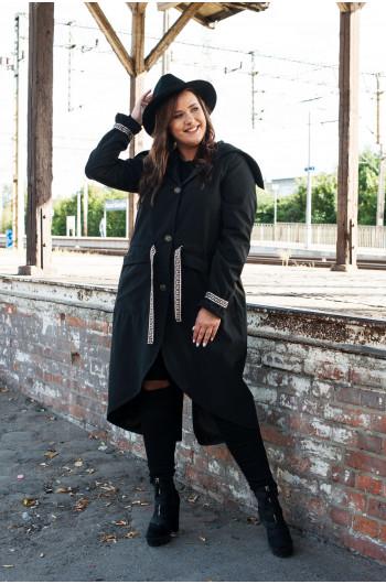 Wiązany czarny płaszcz Plus...