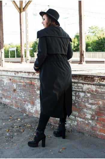 Pv-2 płaszcz trencz kieszenie wiązany czarny