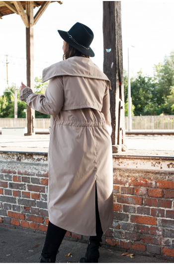 Pv-2 płaszcz trencz kieszenie wiązany beżowy