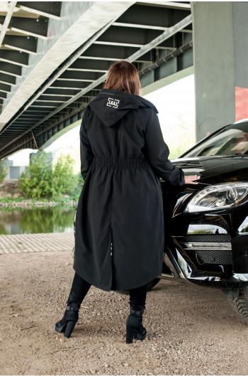 Czarny długi płaszcz Plus...