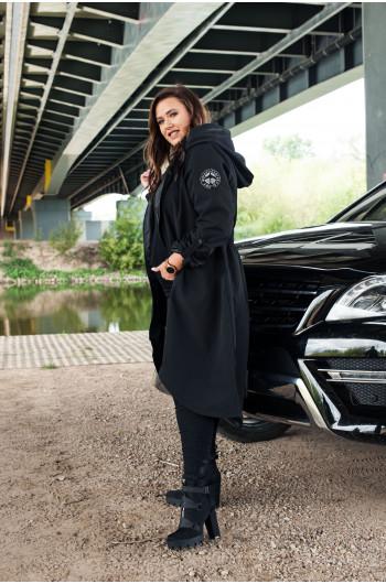 Czarny długi płaszcz Plus Size trencz Pv-3