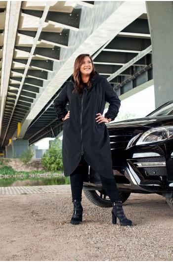 Pv-3 długi płaszcz trencz luźny czarny