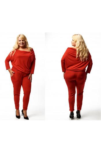 jesienny czerwony kombinezon plus size