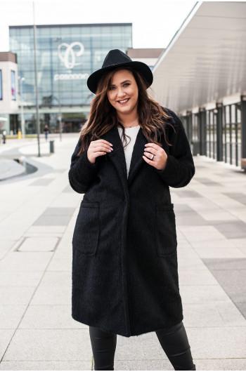 Pa-01 płaszcz zimowy alpaka duże kieszenie czarny