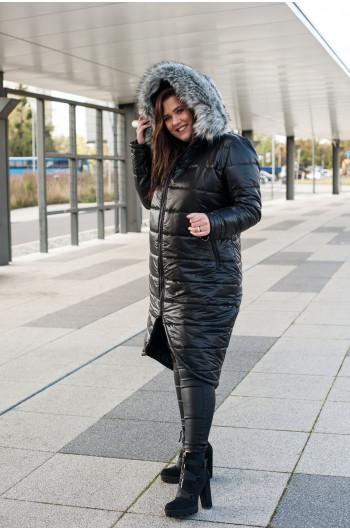 kz-01 kurtka puchowa zimowa z kapturem futro ekologiczne czarna