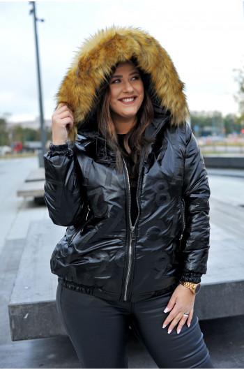 kzs-16 kurtka pikowana puchowa zimowa z kapturem futro ekologiczne błyszczący czarny
