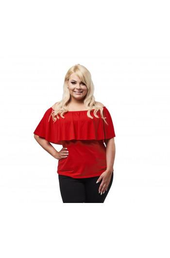 Czerwona dopasowana bluzka z falbanką PLUS SIZE B-12