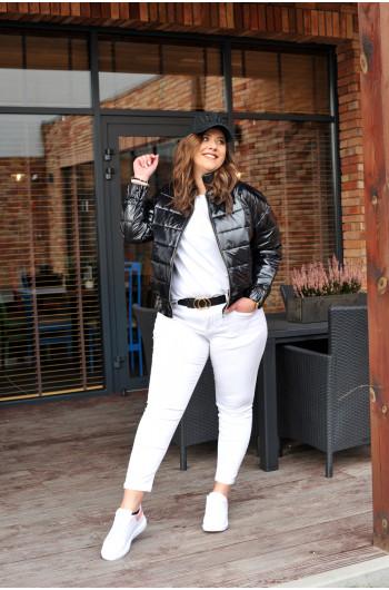 SALE! Krótka damska kurtka pikowana modna stójka czarna k-03