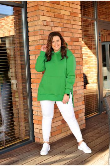 Zielona ciepła bluza dresowa BL-03 asymetryczna