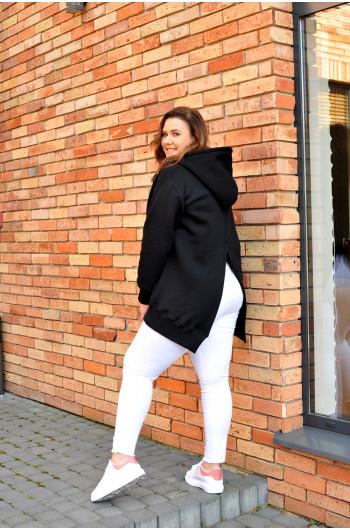 BL-02 czarna bluza z efektownym pęknięciem kangurek