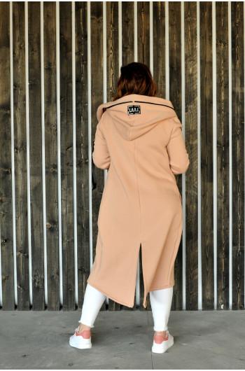 Długa wiosenna bluza BL-01 alla płaszcz w kolorze beżowym