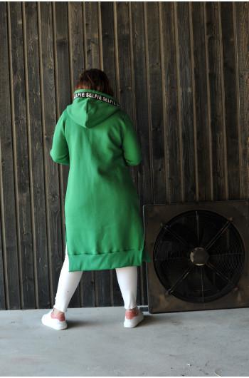 BL-11 Długa bluza o ponadczasowym kroju zielona