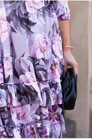 Interesująca sukienka z falbankami S-47