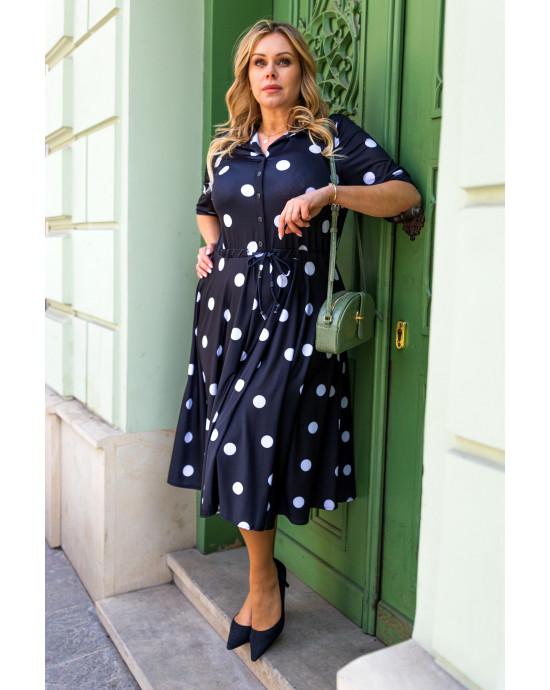 Kokieteryjna sukienka Plus Size w grochy S-40 wersja midi