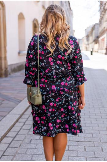 Sale! Trapezowa sukienka w kwiaty S-43