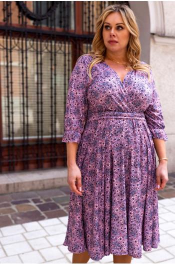 Sukienka S-44 kobieca z kopertowym dekoltem Plus Size