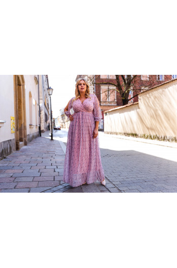 Kusząca zwiewna sukienka Plus Size maxi S-45 z siateczki