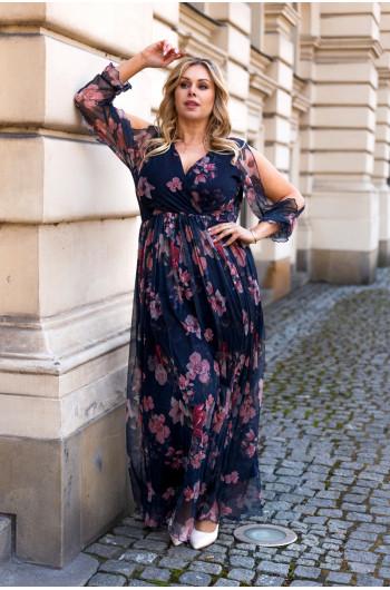 Cudowna sukienka Plus Size Maxi z siateczki S-45 urocza