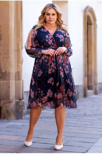 Przecudowna sukienka Plus Size midi S-46 z siateczki