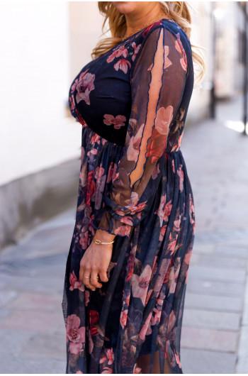 Przecudowna sukienka midi S-46 z siateczki