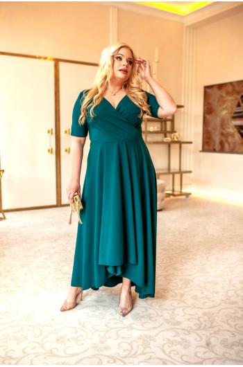 Ujmująca sukienka plus size na wesele asymetryczna Q-11